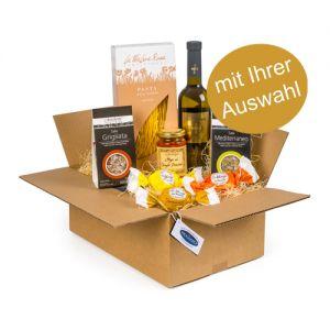 myBox Gourmet: Wählen Sie 1 Wein + 4 Spezialitäten (süss/salzig) + Konfekt (Amaretti)